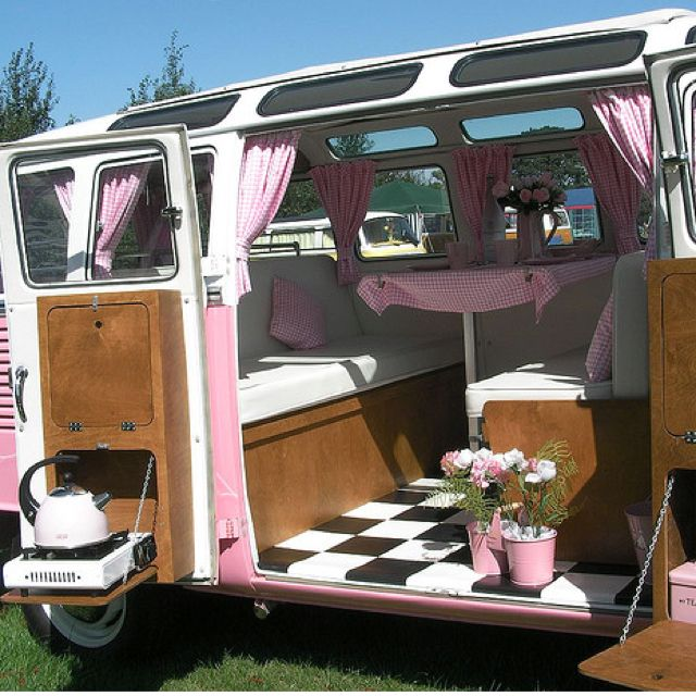 Pink Camper InteriorTell Me This Would Not Be Fun For The Beach