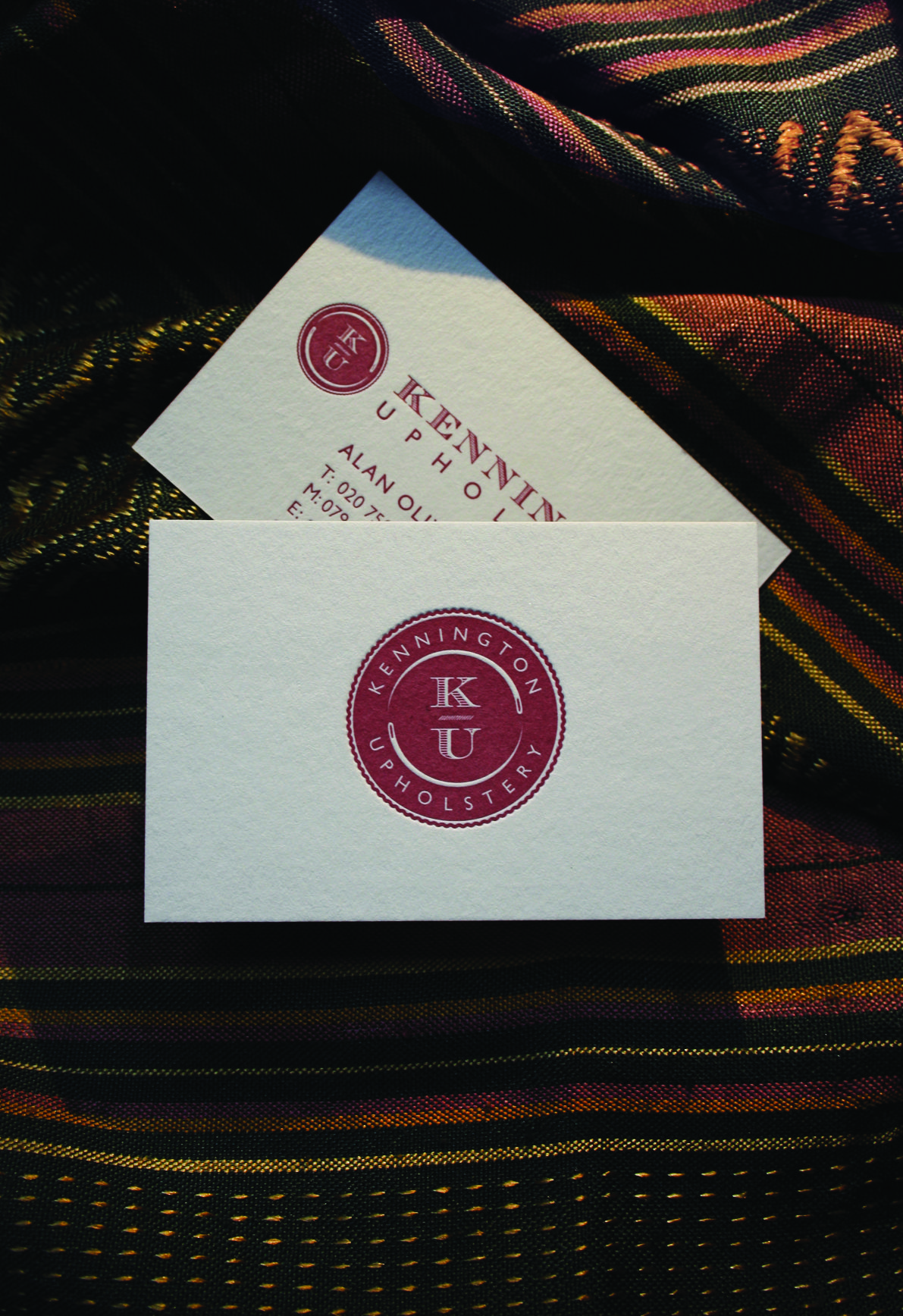 kennington upholstery logo design and letterpress business cards ...
