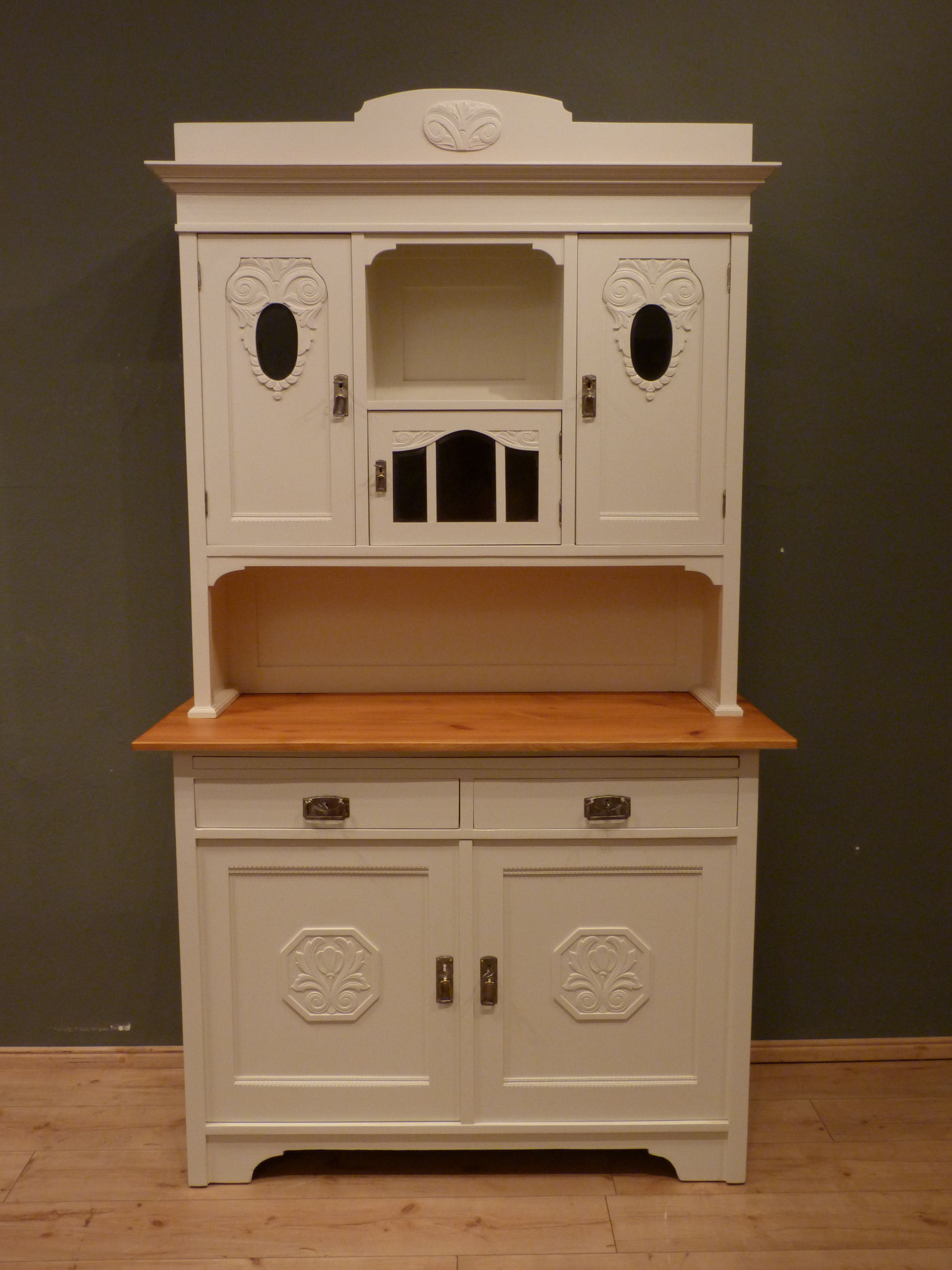 jugendstil k chenschrank eiche wei lasiert um 1910 antike m bel antique furniture. Black Bedroom Furniture Sets. Home Design Ideas