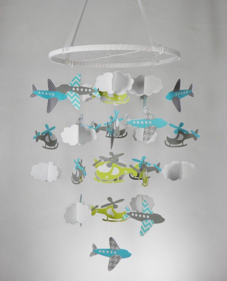 baby mobile selber basteln papier hubschrauber flugzeuge junge basteln pinterest baby. Black Bedroom Furniture Sets. Home Design Ideas