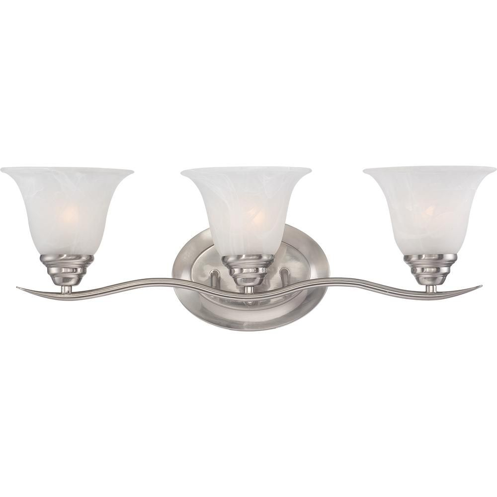 Photo of Volume Lighting Trinidad 3-Light Indoor Brushed Nickel Bath or Vanity Wall Mount with Alabaster Glass Bell Shades V5233-33 – The Home Depot