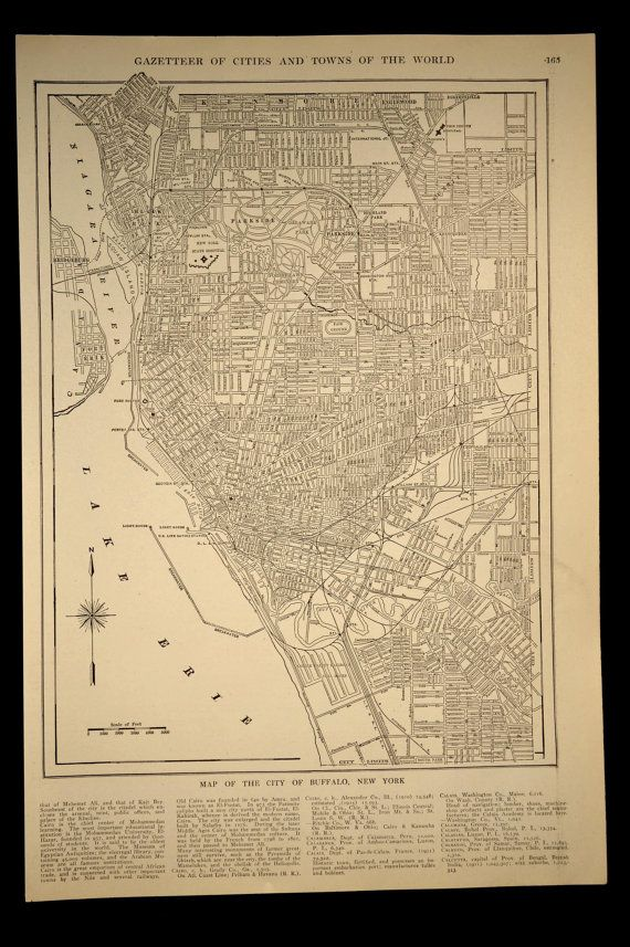 Vintage Map Buffalo New York Early 1900s Original 1919 Map Wall