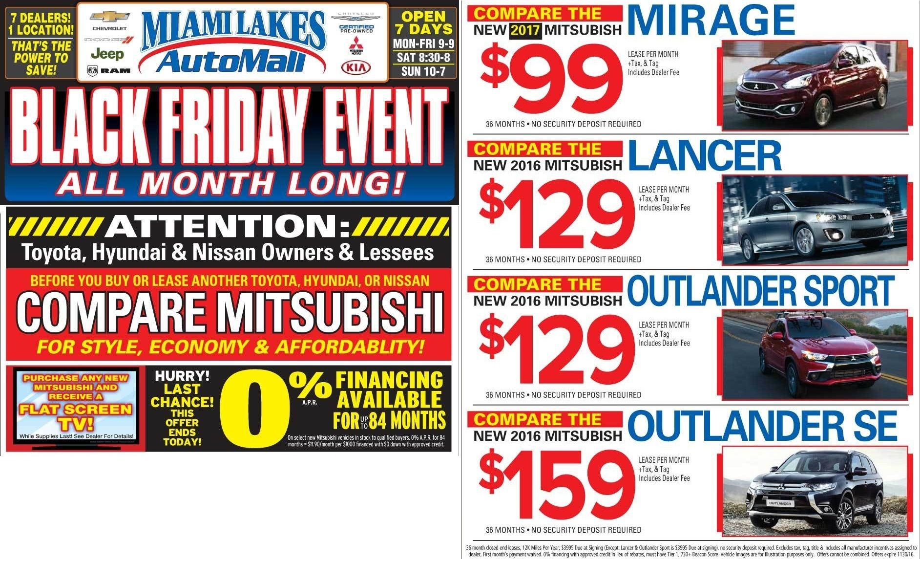 Month Long Black Friday Specials At Miami Lakes Mitsubishi Black Friday Specials Mitsubishi Black Friday