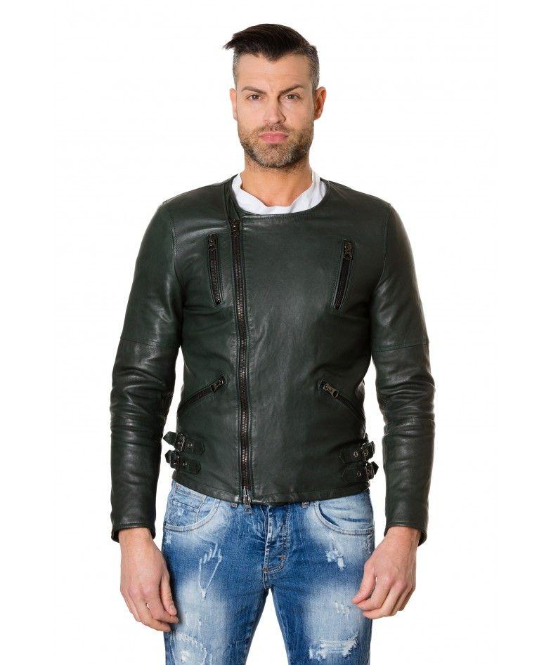 b73b49e4f CLOU2- Green Colour Lamb Leather Jacket No Collar Perfecto | Men ...