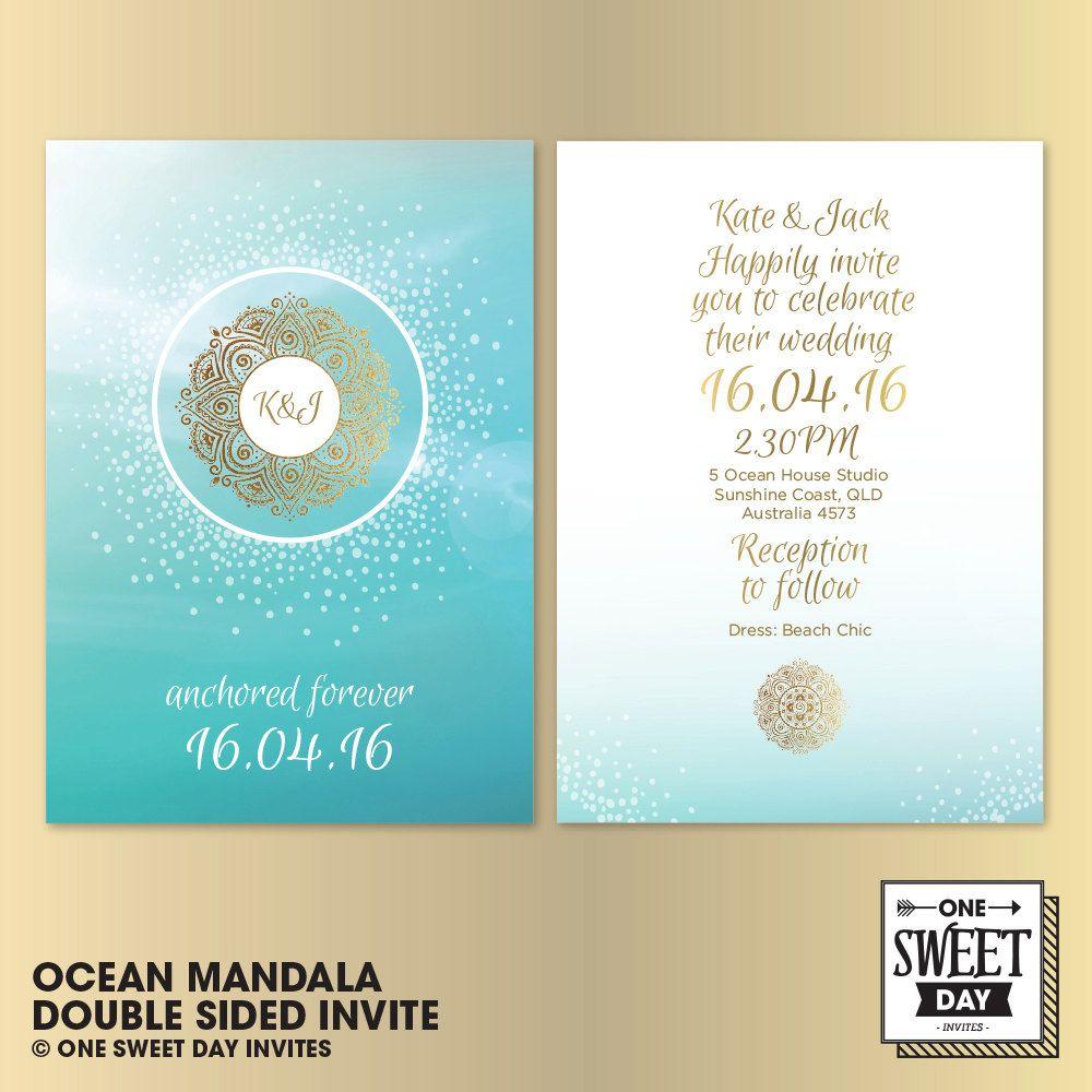 Wedding Invitations Printable, Mandala, beach wedding, destination ...