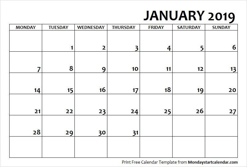 2019 January Calendar Monday Start Monday Start Pinterest