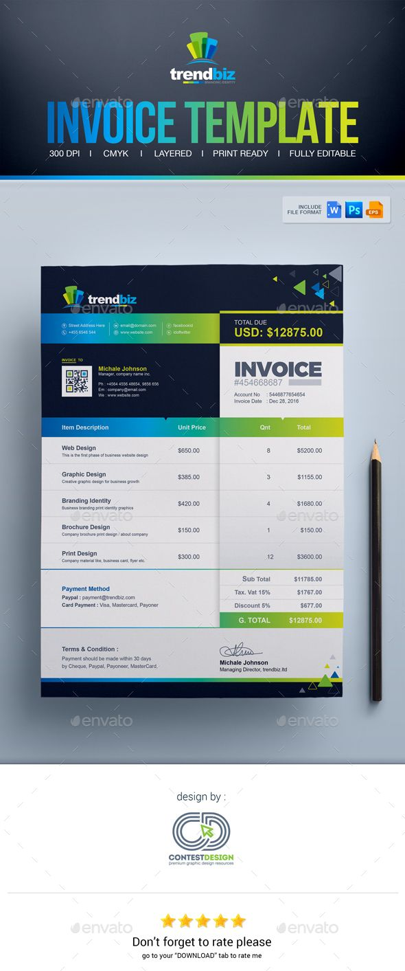 Invoice Template Ms Word Invoice Psd Invoice Eps Invoice