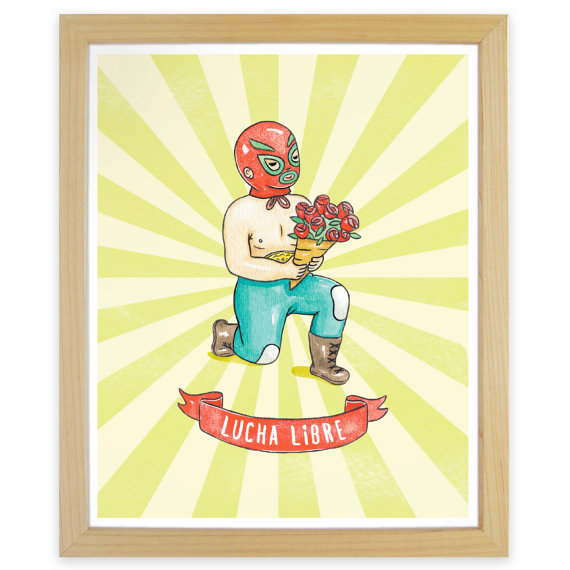 Lucha Libre Medium Art Print by mingong on Etsy