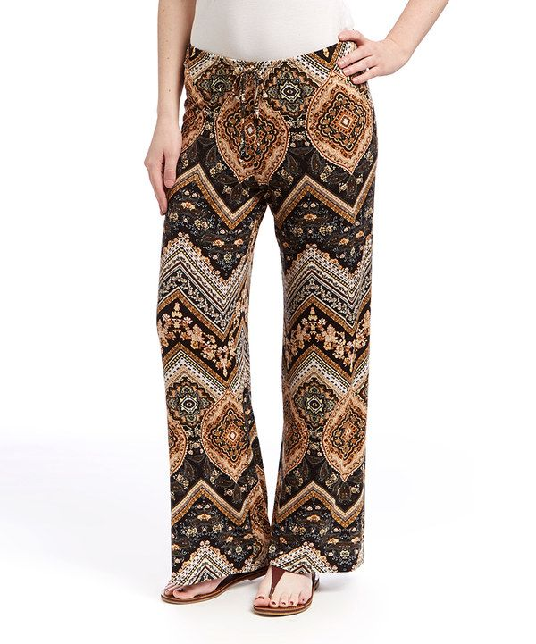 Look at this Brown & Gold Geometric Pants on #zulily today!