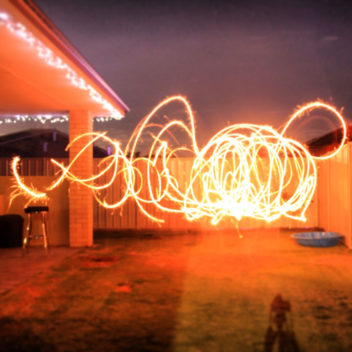 15sec open shutter, with my fiancé and myself running around with sparklers.