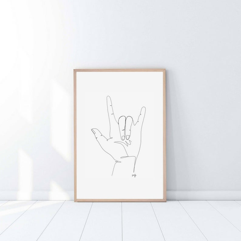 American Sign Language I Love You Single Line Print Ily Asl Etsy Sign Language Art Sign Language Tattoo American Sign Language