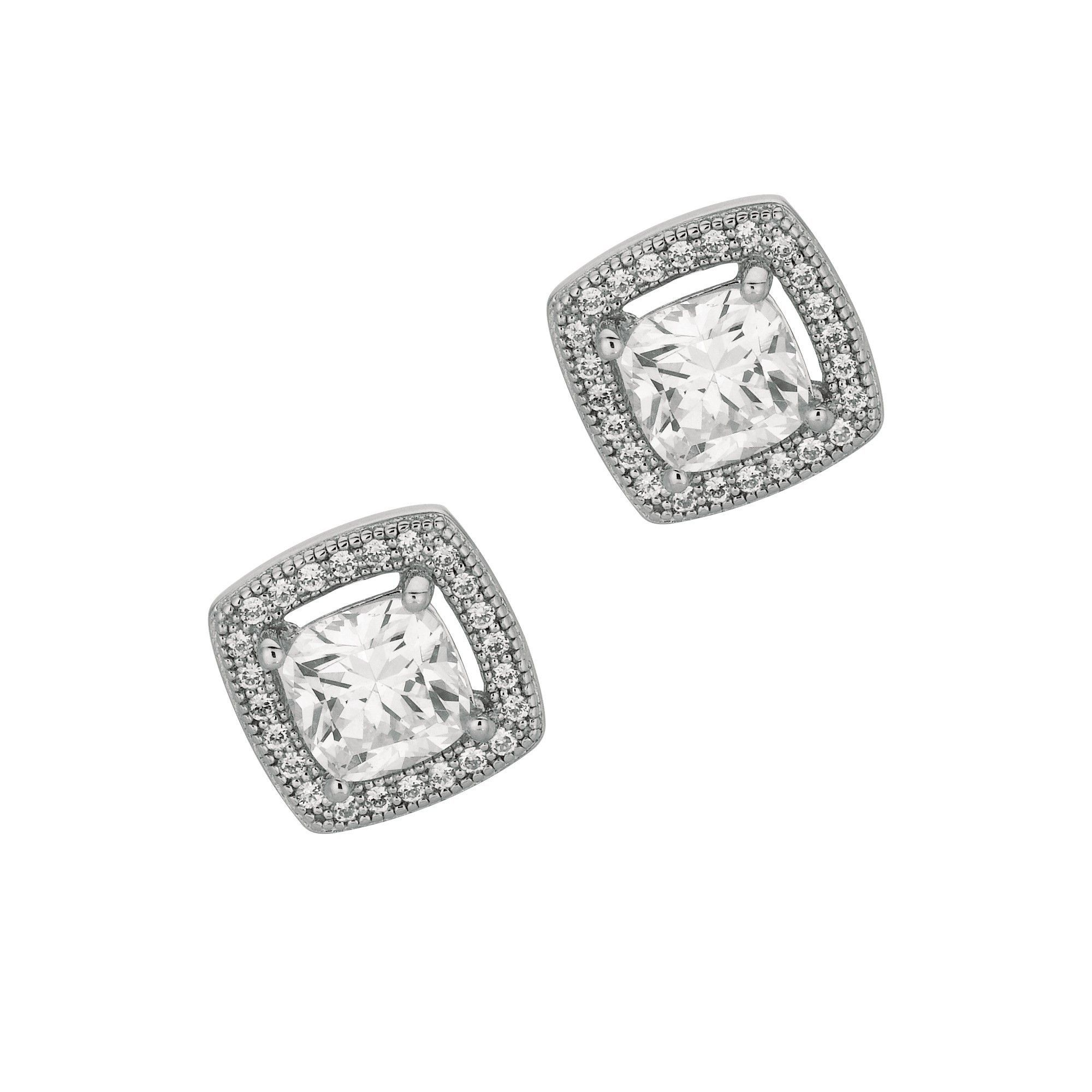 Rhodium Finish Shiny Fancy Open Square with Cubic Zirconia Earring
