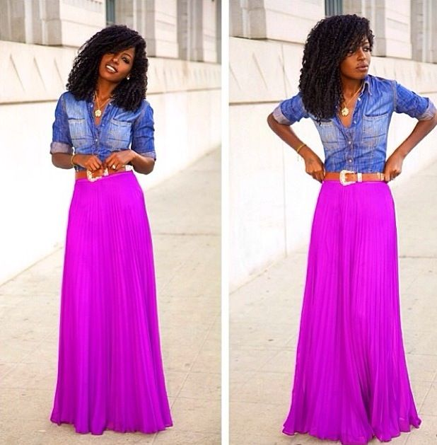 Denim shirt & Long flowy skirt ... Color combo | I'd wear that ...