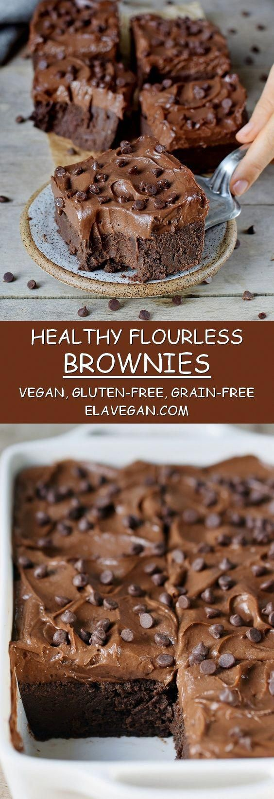 These flourless brownies with a sweet potato frosting are absolutely delectable. They are vegan, gluten-free, oil-free, grain-free, protein-rich, fudgy, chocolatey, and so rich! Made with chickpeas and other wholesome ingredients! |