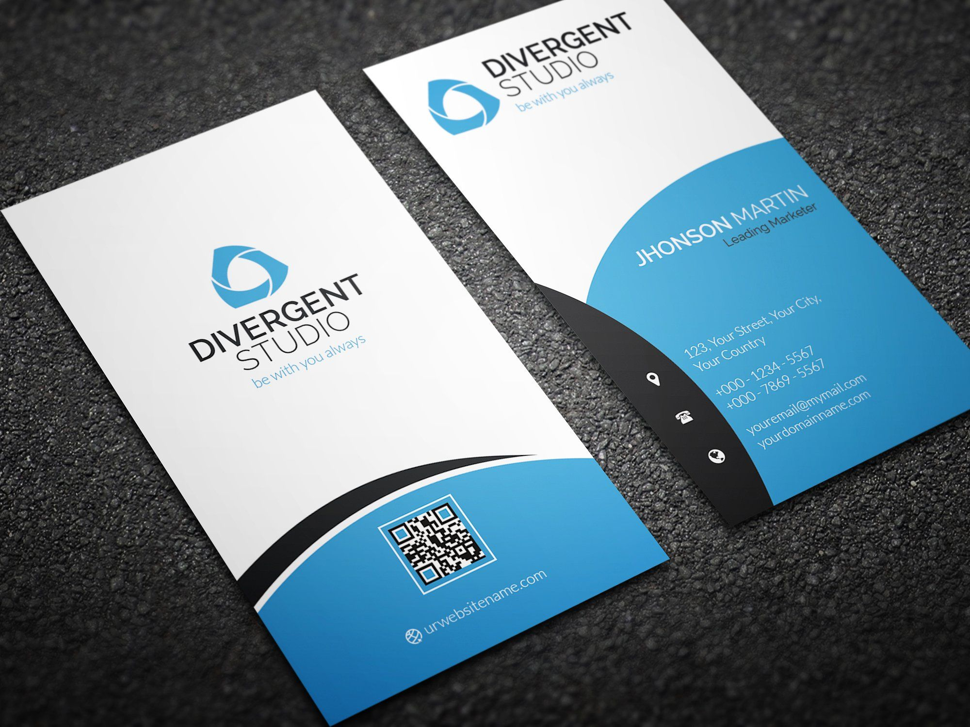 Simple Vertical Business Card With Images Vertical Business
