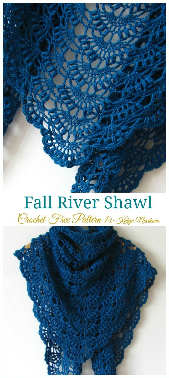 Fall River Shawl Crochet Free Pattern - Lace Shawl