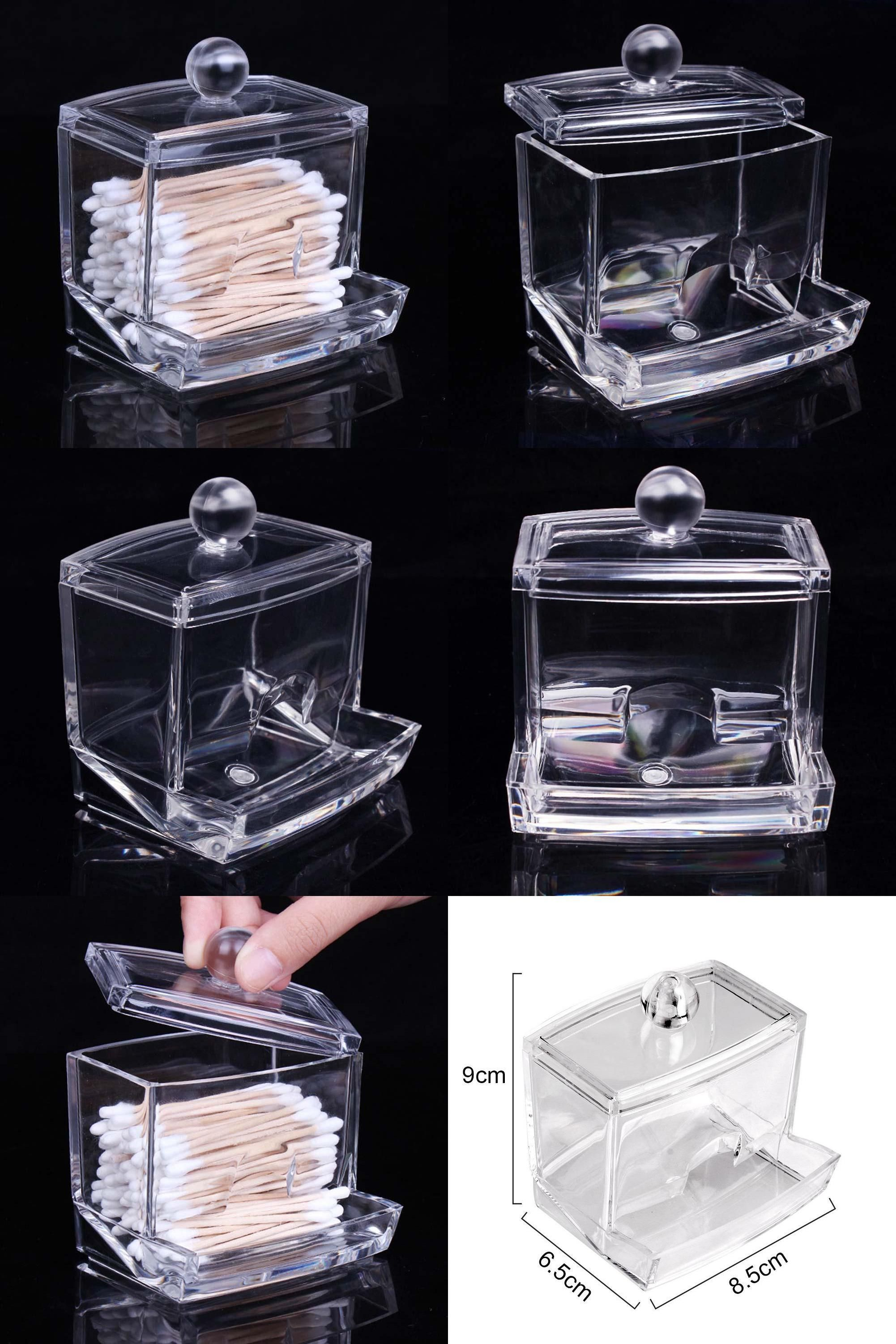 [Visit To Buy] 2017 Hotsale Clear Acrylic Cotton Swab Q Tip Storage Holder