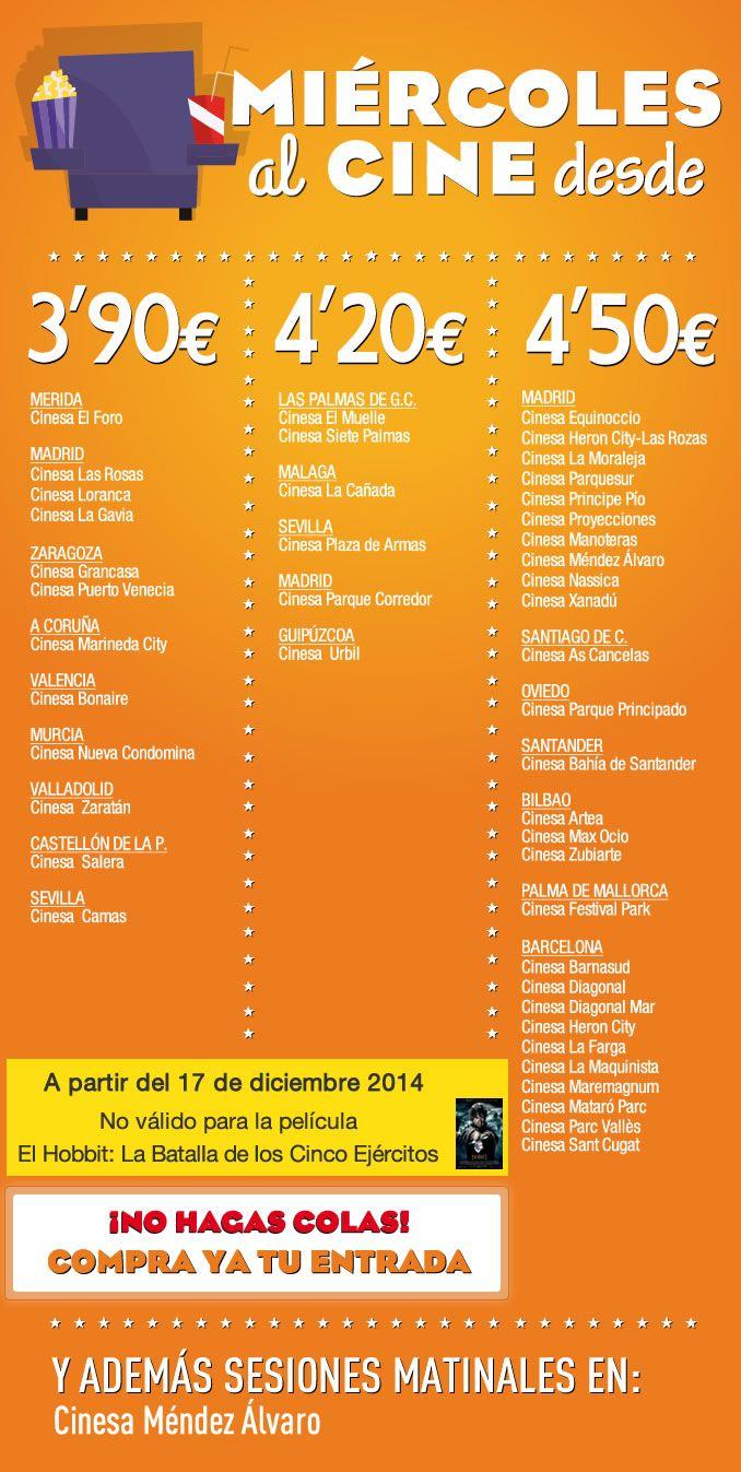 ¡Los #miércoles son de cine en tu #CCPlazadeArmas !   Disfruta de los nuevos estrenos y las mejores películas por tan solo 4,20 euros  Consulta cartelera aquí: http://goo.gl/cTNdnS