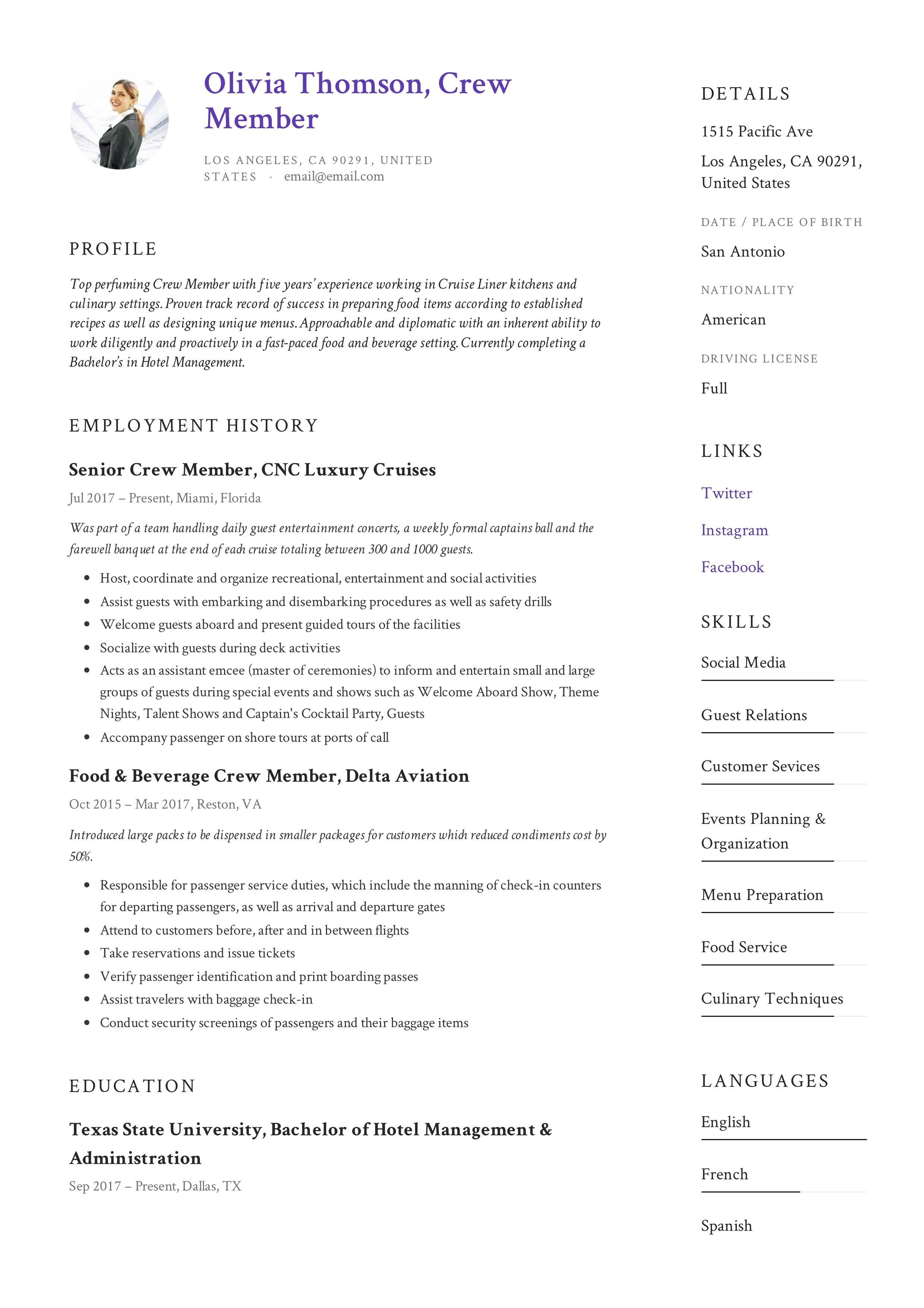 Crew member resume example in 2020 guided writing