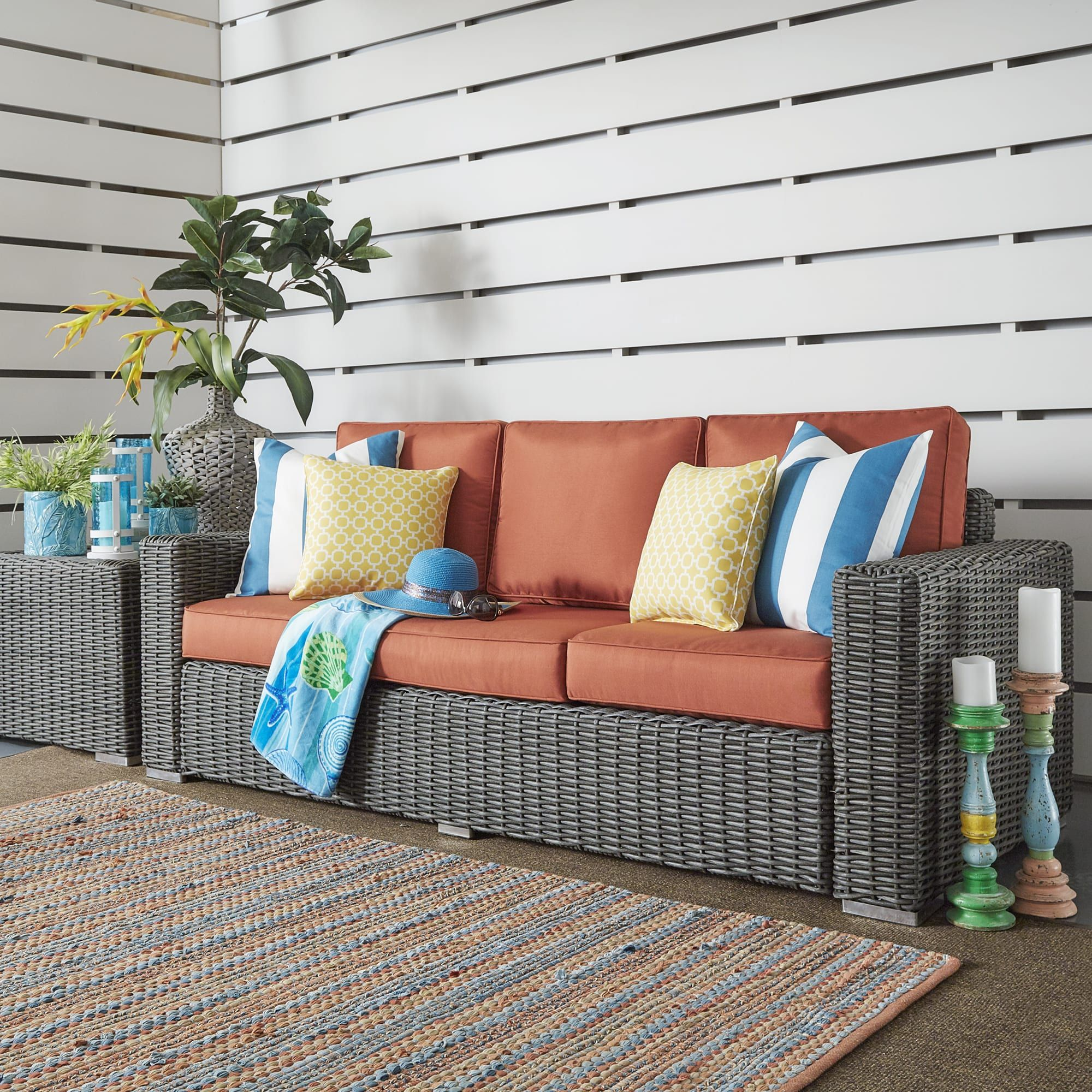 Barbados wicker outdoor cushioned grey charcoal sofa with square arm