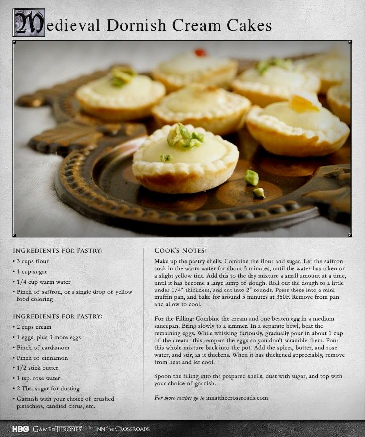 Repin if youll transport yourself to dorne by making these more medieval dornish cream cakes game of thrones recipes forumfinder Image collections