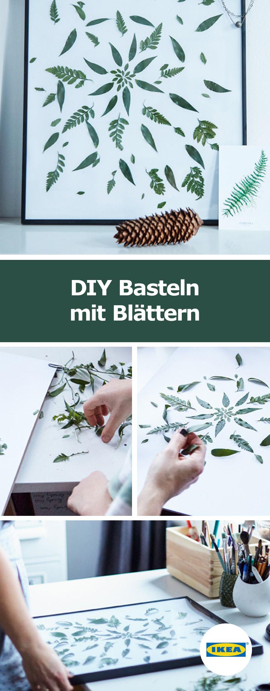 ikea deutschland diy basteln mit bl ttern ikea diy ideen diy basteln ikea und basteln. Black Bedroom Furniture Sets. Home Design Ideas
