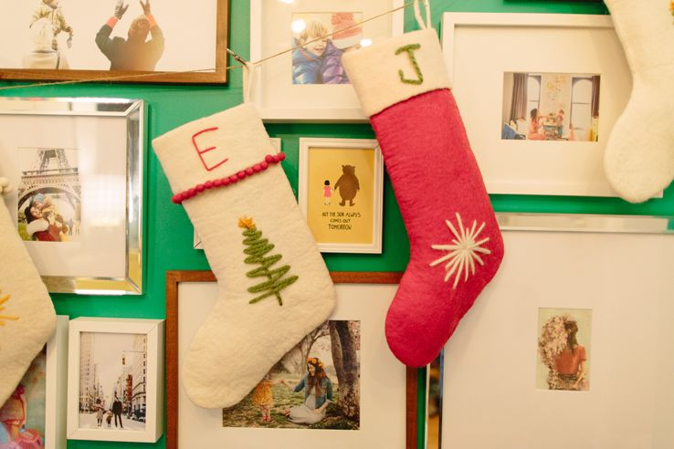 Hand-personlized stockings in Love Taza's NYC Apt | west elm