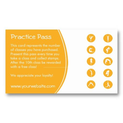 Yoga Class Business Card loyalty card template Make it yours - bus pass template