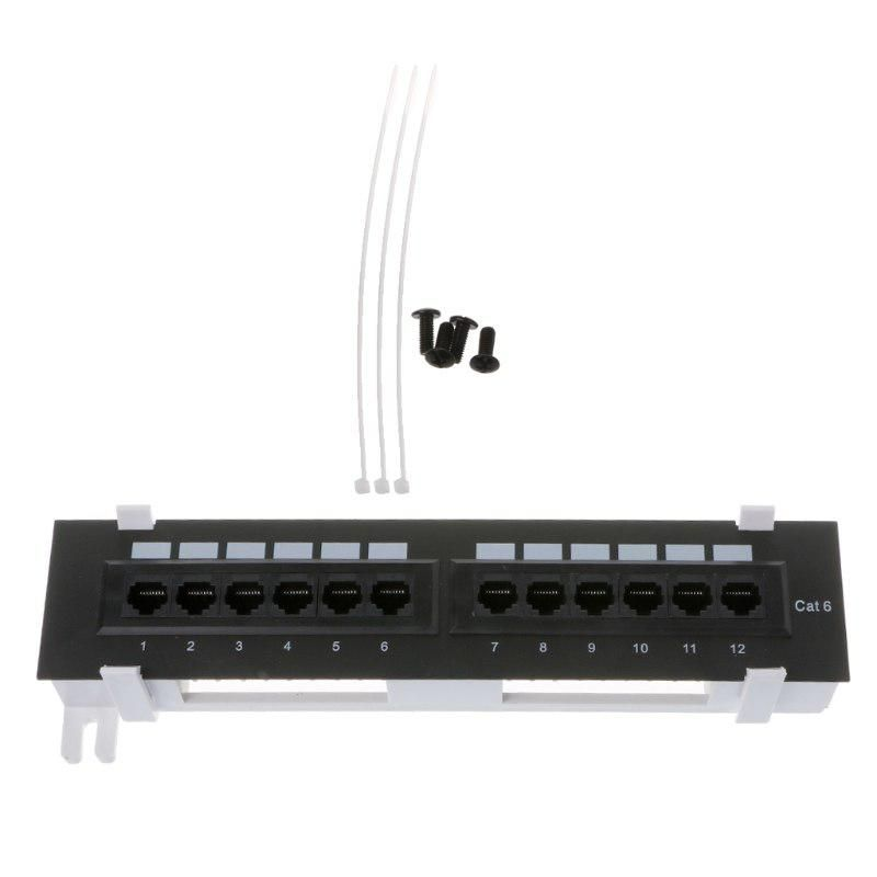 12 Port Cat6 Patch Panel Rj45 Networking Wall Mount Rack Mount Bracket Us 11 71 Wall Mount Rack Patch Panel Tool Kit