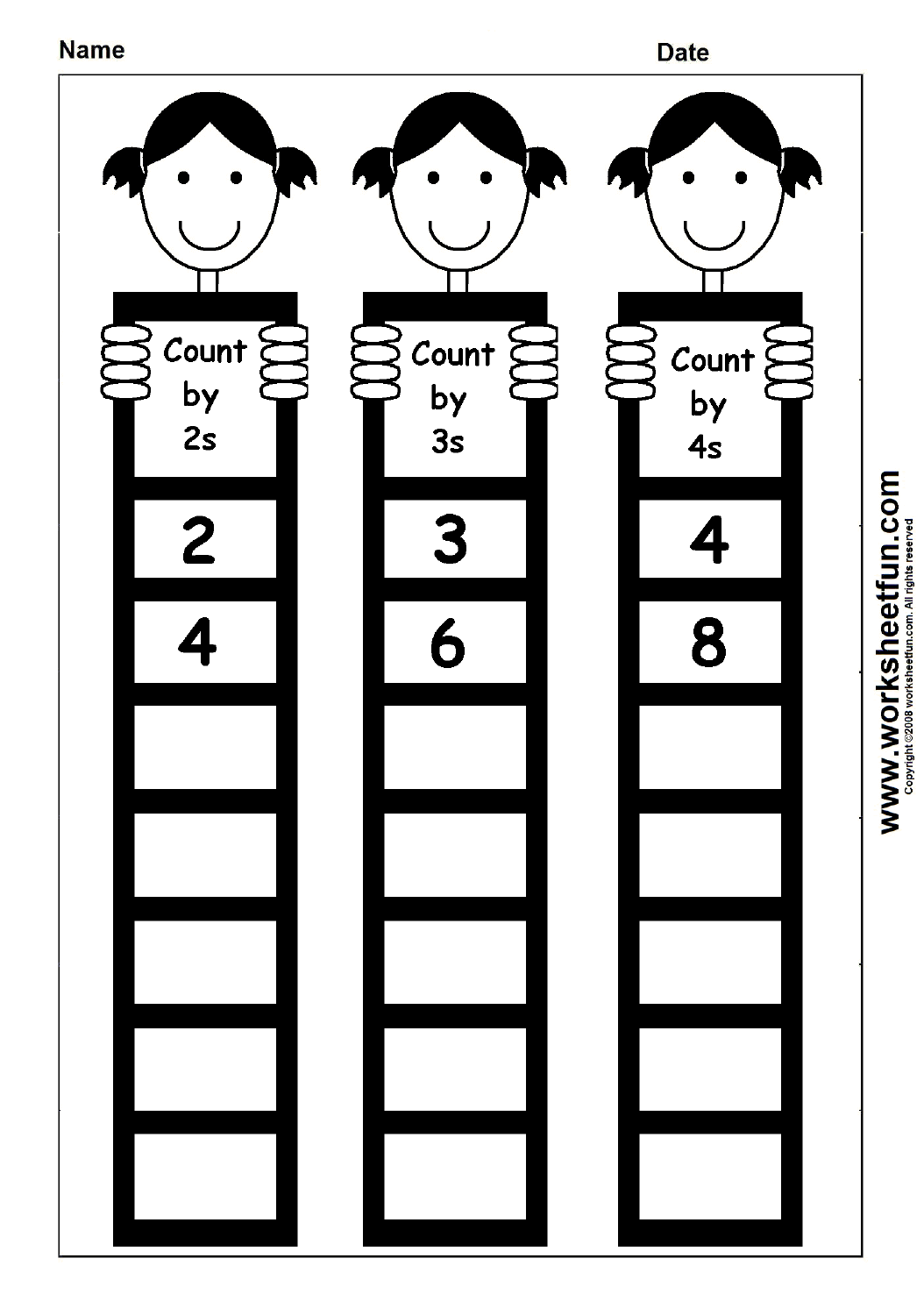 skip counting by 2 3 and 4 1 worksheet printable worksheets first grade math worksheets. Black Bedroom Furniture Sets. Home Design Ideas
