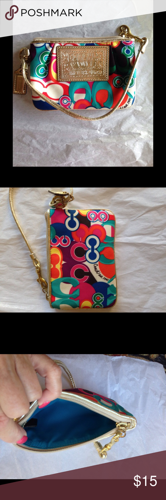 Coach Poppy Glam C Wristlet, Colorful and Like New This wristlet from the Poppy collection is a bright little gem!  It features gold leather strap and trim and a brilliant turquoise sateen lining.  This item is like new and has no visible signs of wear.  Matches tote I also have listed. Coach Bags Clutches & Wristlets