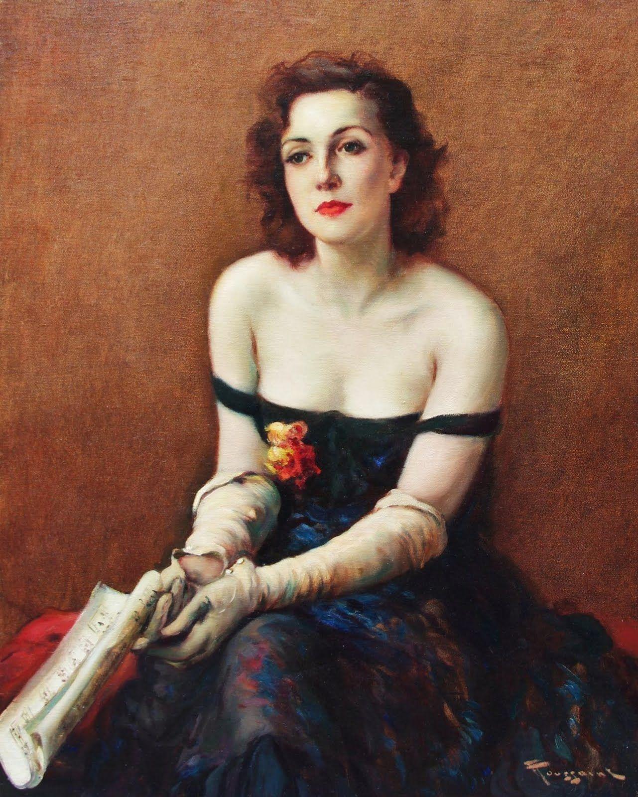 Elegant Lady with Music Score, Fernand Toussaint