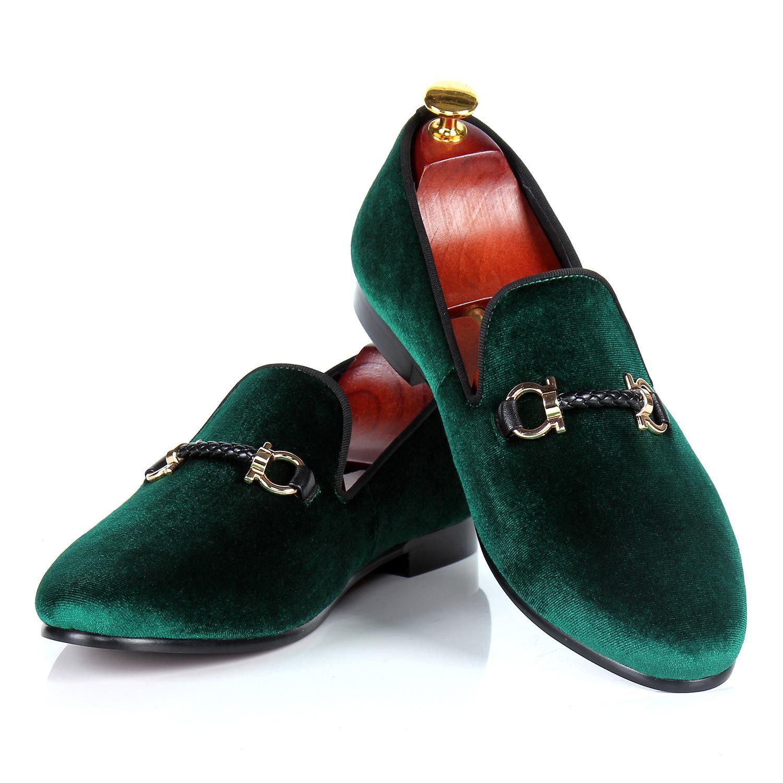 Mens dress shoes - green velvet loafers - buckle strap