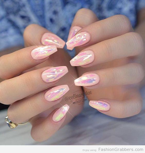 Pastel Hologram Ballerina Nails Cute Nails Pink Nails Ballerina Nails
