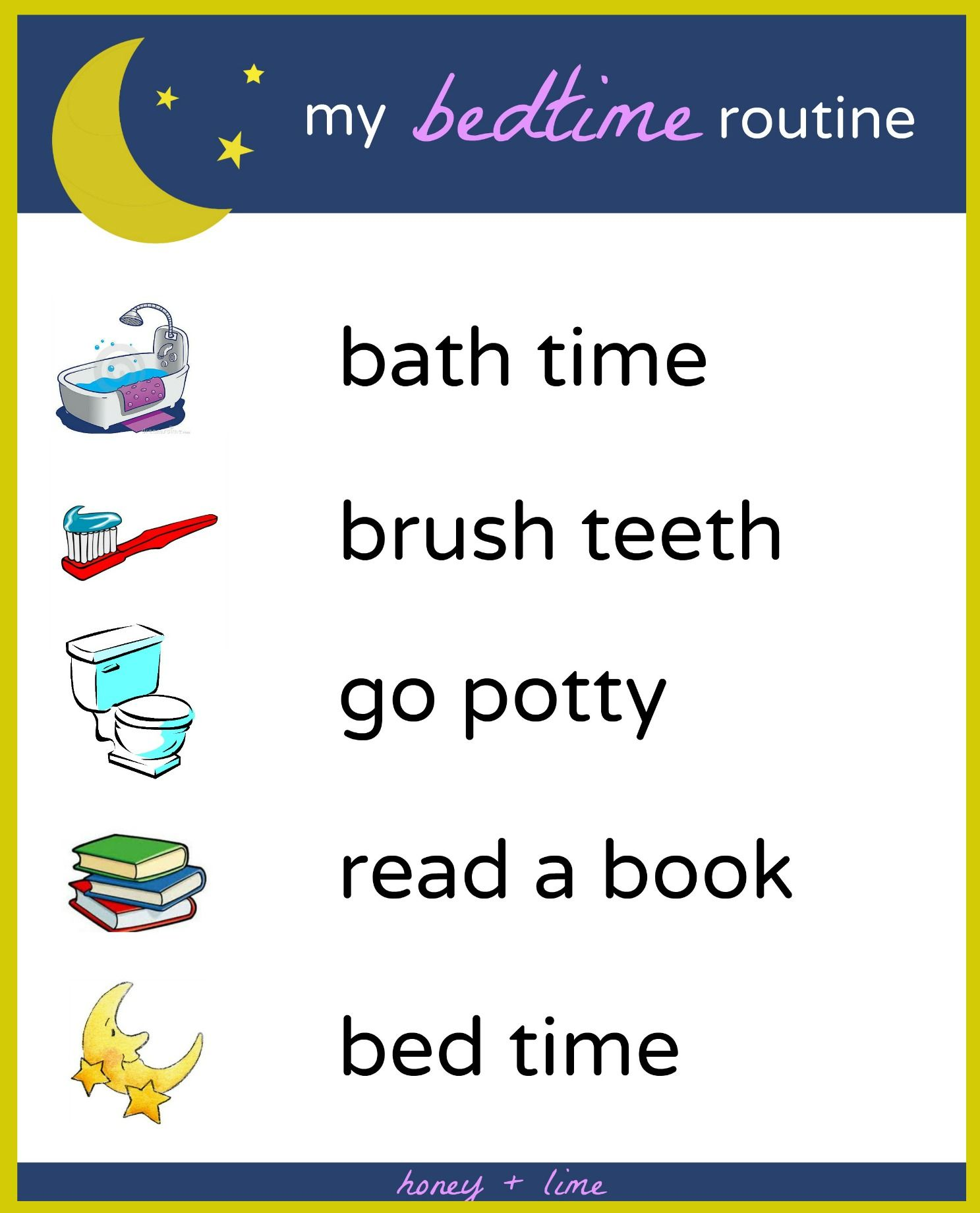 Brush Book Bed A Printable Bedtime Routine Chart For
