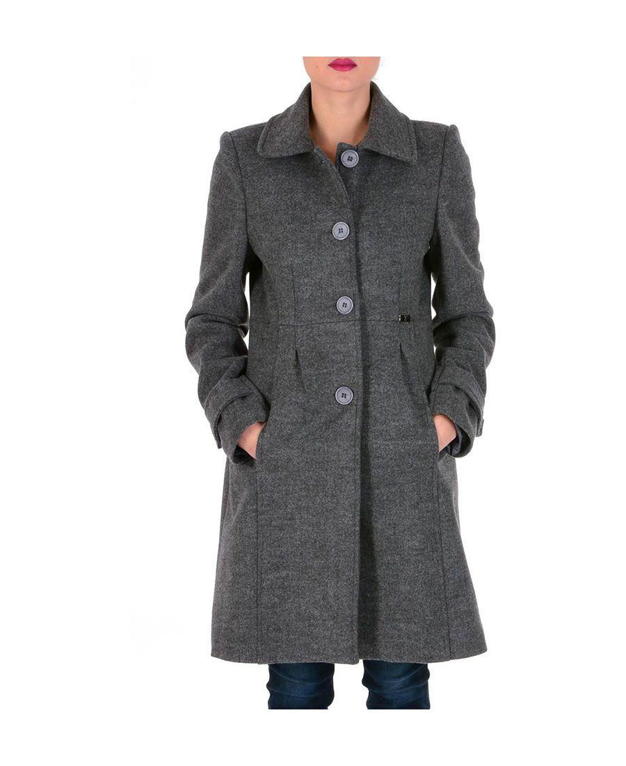 Cappotto regular maniche lunghe donna grigio scuro gau V 1969 12611 ... ebeedd4f118