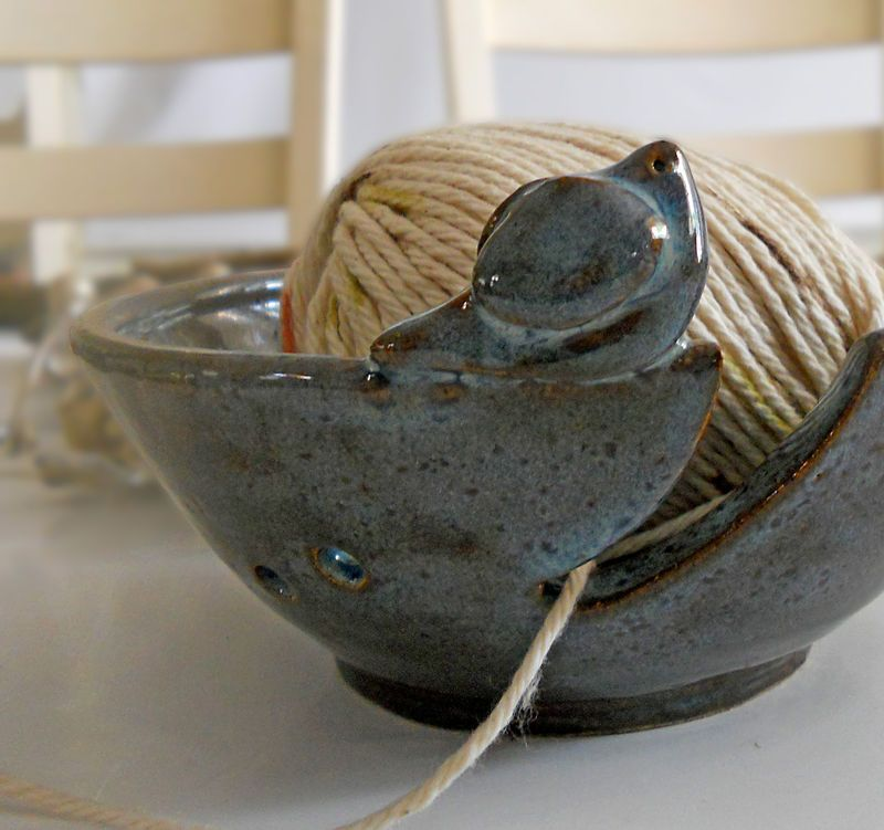 Ceramic bird knitting bowl glazed in blue. Perfect for knitters and crocheters to help keep your ball of yarn from rolling around. Island Girl Pottery