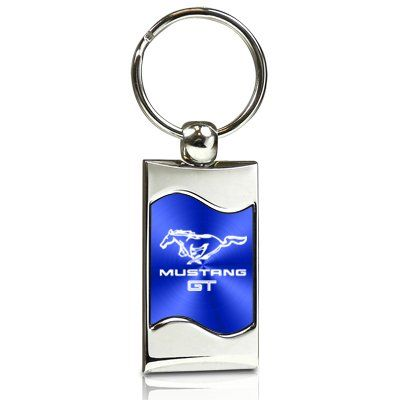 Ford Mustang Gt Blue Spun Brushed Metal Key Chain With Images