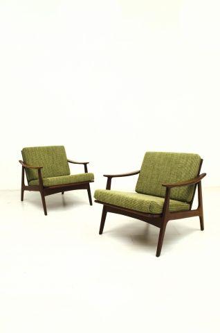 2 Prachtige Fauteuils.Set Van 2 Prachtige Teak Fauteuils Met Groene Stof En Een
