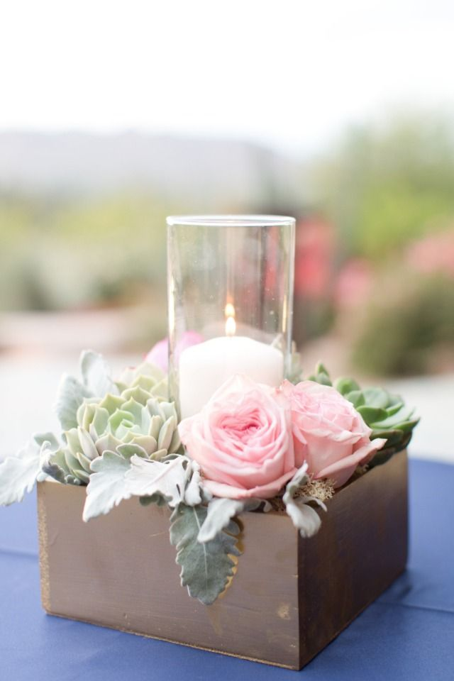 Navy gold and pink desert wedding flower box