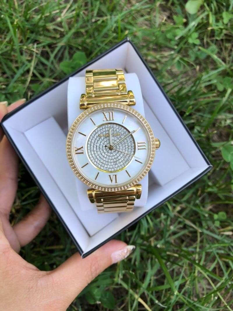 df94d644fc52 พร้อมส่ง MICHAEL KORS Catlin Mother of Pearl Dial Gold-plated Ladies Watch  Item No