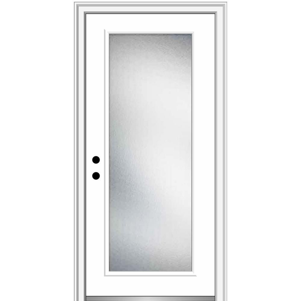Mmi Door 32 In X 80 In Micro Granite Right Hand Inswing Full Lite Decorative Painted Fiberglass Smooth Prehung Front Door Brilliant White Aluminum Screen Doors Prehung Doors Decorative Hinges