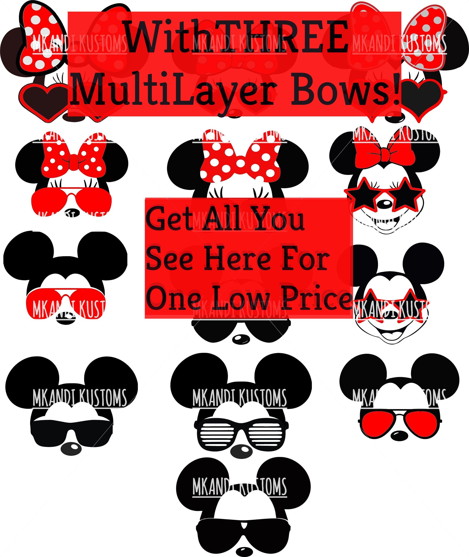 Minnie Mickey Sunglasses Disney Svg Mickey Mouse Head Svg Minnie Mouse Head Svg
