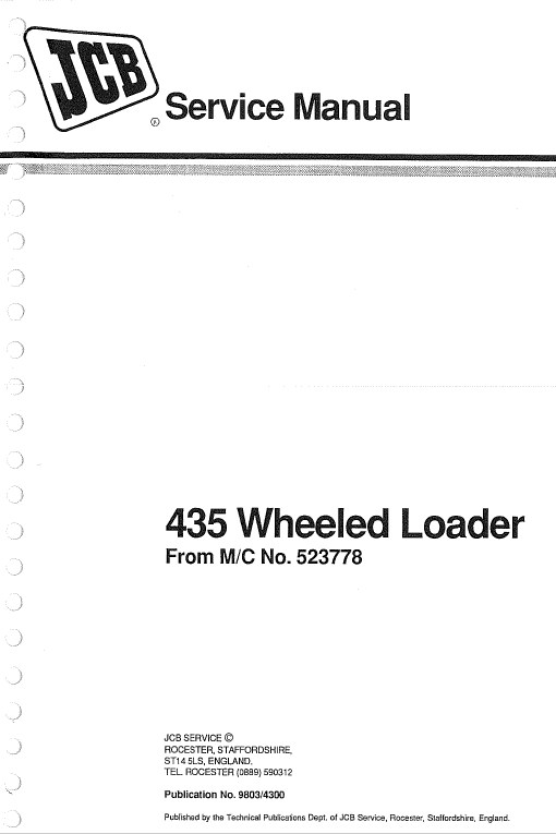 Jcb 435 Wheeled Loader Shovel Service Manual Manual Repair Manuals Shovel