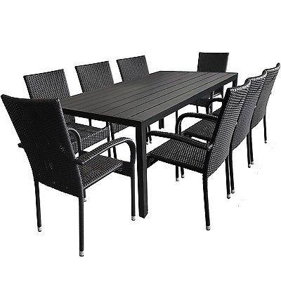 Unique Sitzgarnitur Polywood Tisch xcm x Polyrattan Stapelst hle Schwarz tlg in Garten u Terrasse