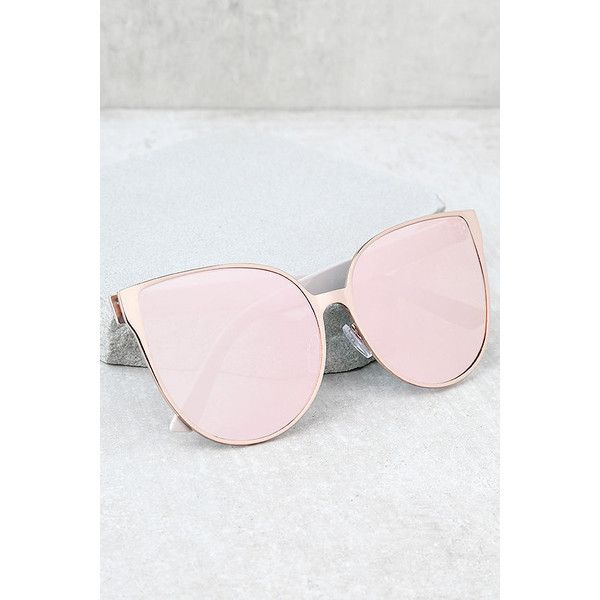 2744f33f108 Hollywood Hues Rose Gold and Pink Mirrored Sunglasses ( 16) ❤ liked on  Polyvore featuring
