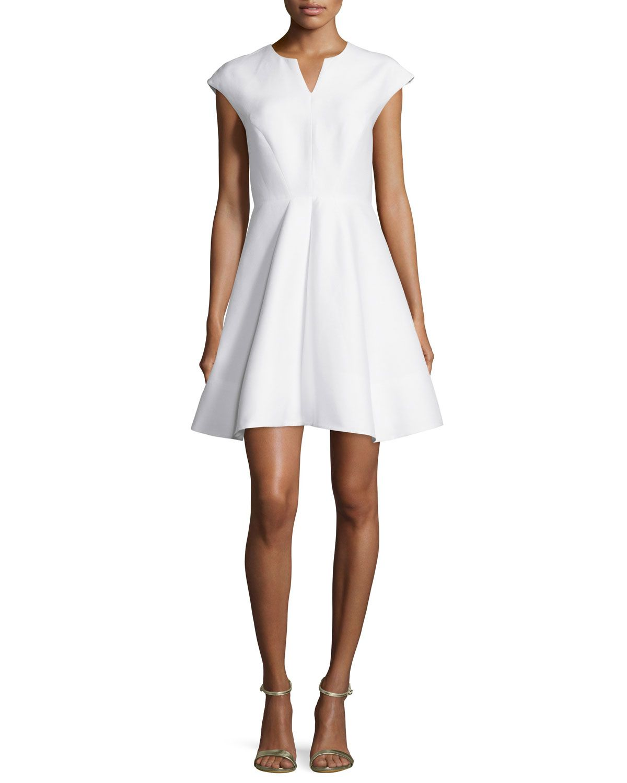 ed7e642fca61 Cap-Sleeve Structured Party Dress, Women's, Size: 12, Breeze - Halston  Heritage