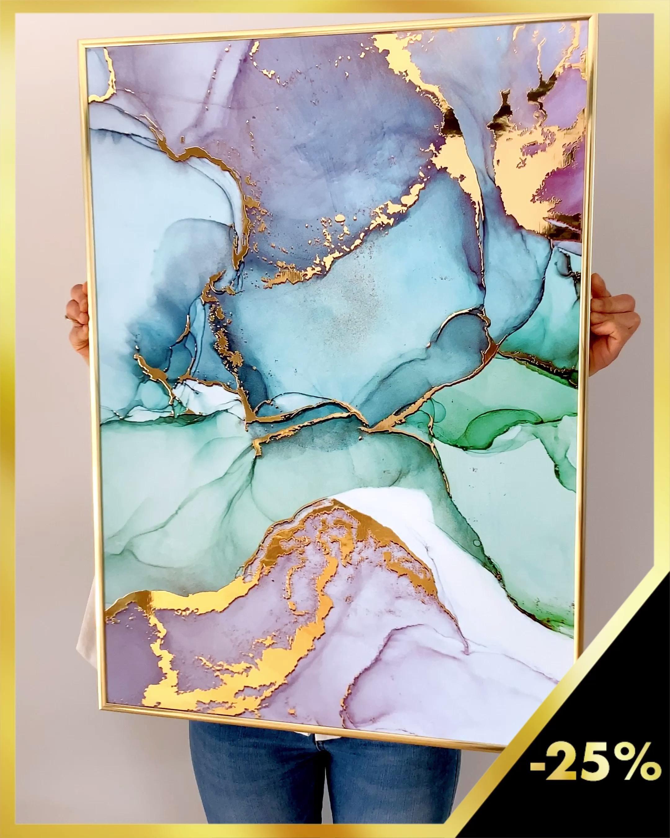 Aquarell Poster mit echtem Glanzeffekt - Heute -25