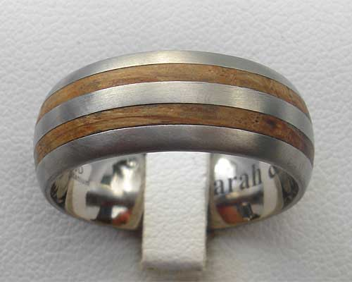 Mens Titanium & Wooden Wedding Ring LOVE2HAVE IN THE UK