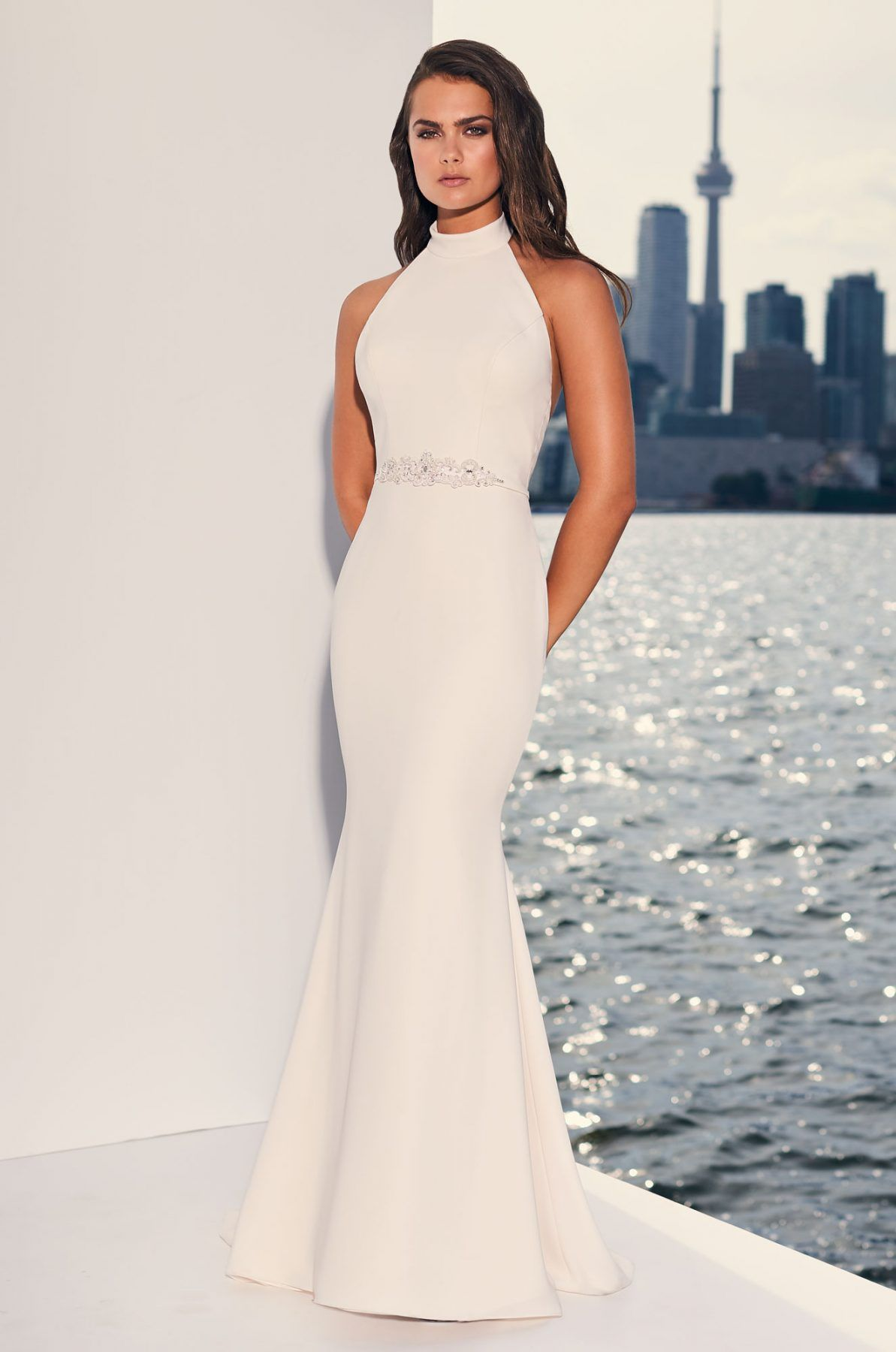 Halter Top Crepe Open Back Fit And Flare Wedding Dress Kleinfeld Bridal Halter Top Wedding Dress Fit And Flare Wedding Dress Ball Gown Wedding Dress